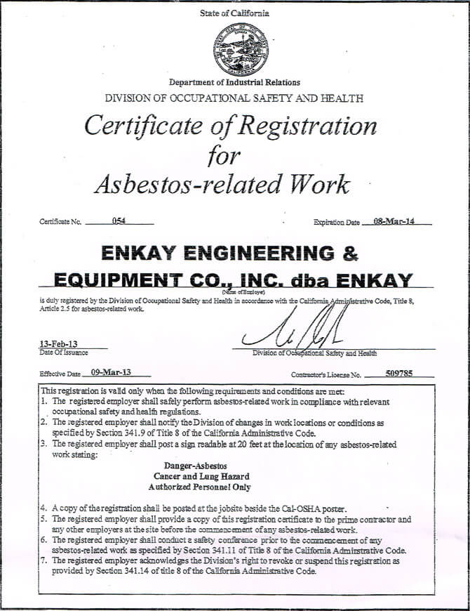 Certified Asbestos Removal Contractor