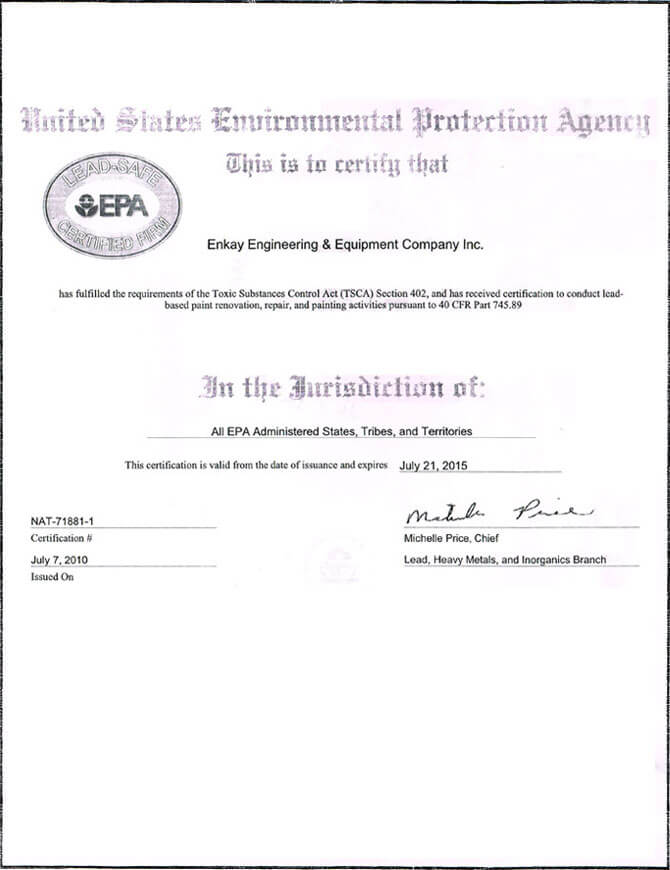 US Environment Protection Certified Firm